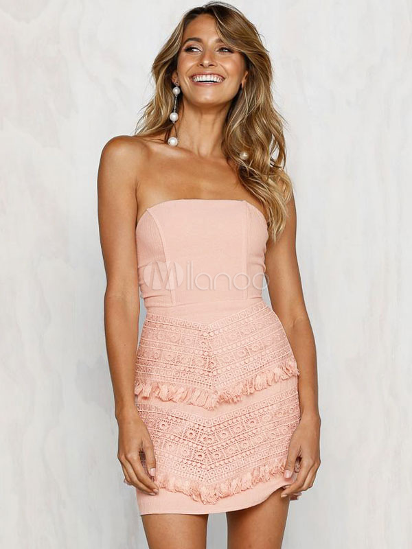 Sexy Bodycon Dress Strapless Lace Fringe Knotted Summer Dress