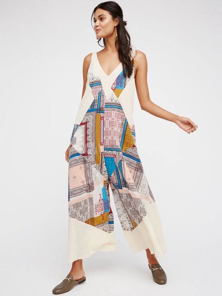 Buy Women Summer Jumpsuit V Neck Sleeveless Geometric Print Long Wide Leg Jumpsuit for $41.24 in Milanoo store