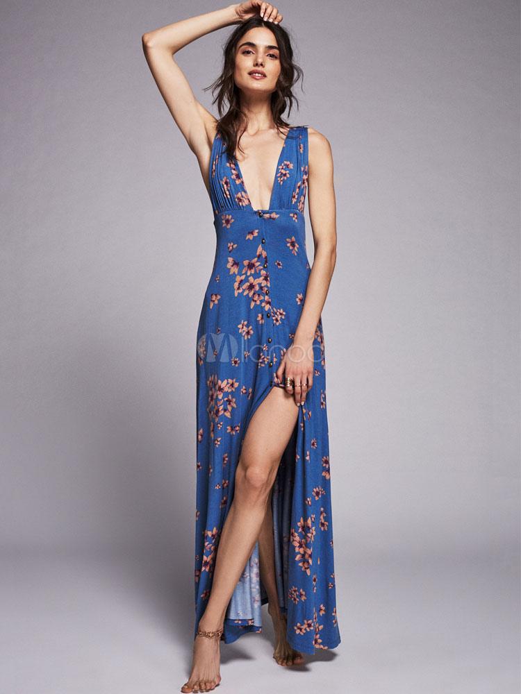 Long Summer Dress Printed Split Plunging Neck Backless Maxi Dress