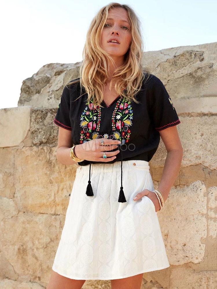 Women Boho Blouses Short Sleeve V Neck Embroidered Cotton Top
