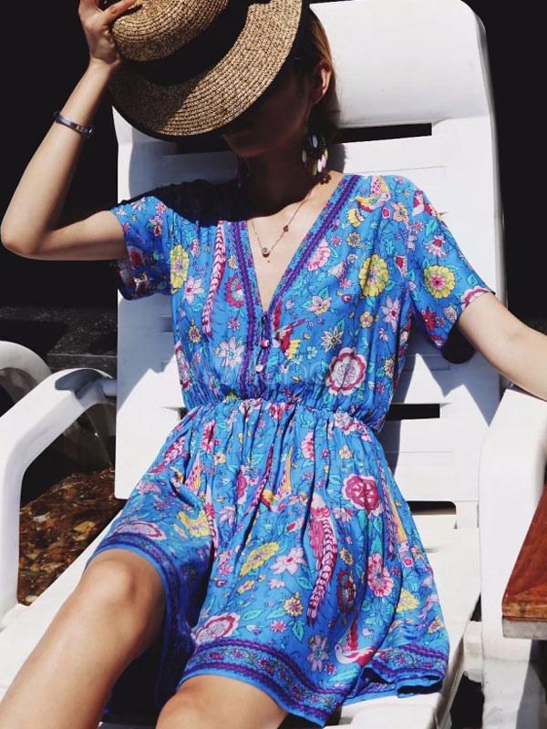 Chiffon Summer Dress Short Sleeve V Neck Floral Print Blue Casual Dress
