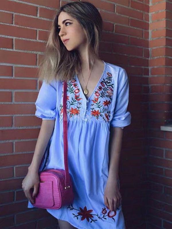 Embroidered Summer Dress V Neck Three Quarter Sleeve Light Sky Blue Casual Dress