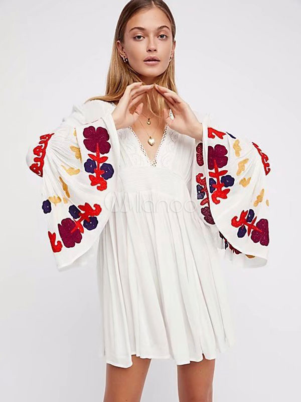 Buy Boho Summer Dress Bell Sleeve V Neck Embroidered Mini Dress for $44.99 in Milanoo store