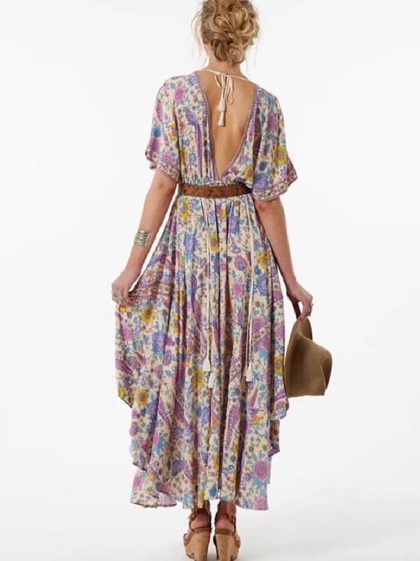 b0face7e8bf ... Robe Longue Floral Robe Champêtre 2019 Robe Longue Manche Courte Col V  Dos Nu Fuchsia-