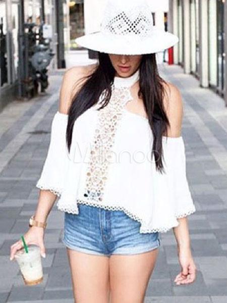 bbb501bb694a Blusas de mujer 2019 blanca con encaje Top de verano de chifón