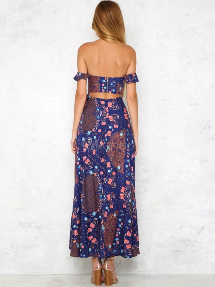 Largo vestido de verano 2018 hombro caído estampado Maxi vestido de ...