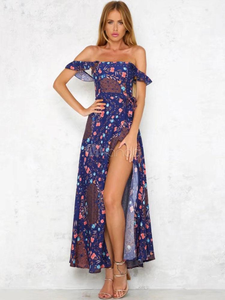 Largo vestido de verano 2019 hombro caído estampado Maxi vestido de chifón  azul oscuro-No ... a08cf8b2a9bf