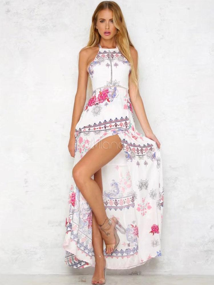 Largo vestido de verano 2019 Maxi vestido sin manga estampado sin  espalda-No.1 ... e456a7d0293f