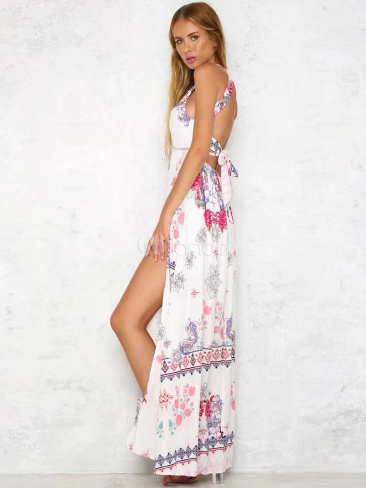 ... Largo vestido de verano 2019 Maxi vestido sin manga estampado sin  espalda-No.3 ... 849bb151c061