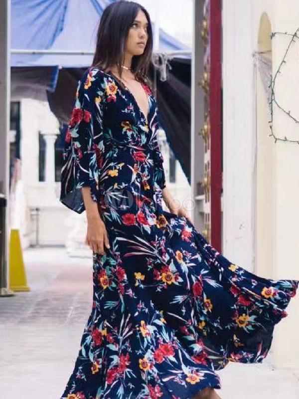 meilleur grossiste nouveau pas cher original de premier ordre Robe longue 2019 Robe Maxi femmes Manches longues bleu foncé Robe d'été
