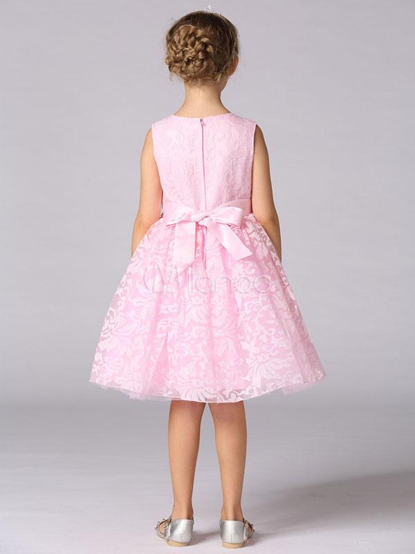 Vestidos de niña de las flores de encaje sin mangas rebordear fajín ...