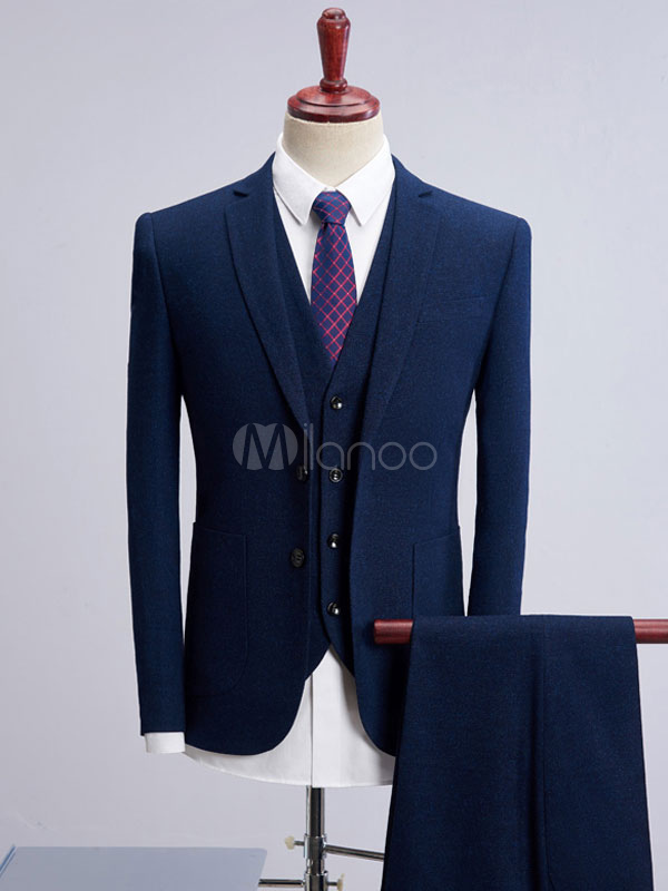 Wedding Groom Suits Dark Dark Navy Notch Laple Tuxedo Men Formal Wear 3 Pieces Set