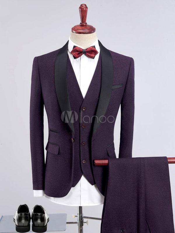 Wedding Suits Men Shawl Lapel Groom Tuxedo Deep Purple Formal Wear 3 Piece Set