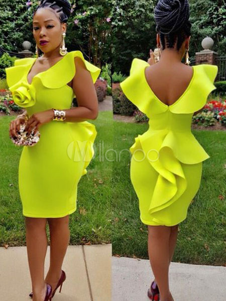 051678bd8b Sexy Bodycon Dress V Neck Sleeveless Ruffles Yellow Shaping Midi Dress-No.1  ...