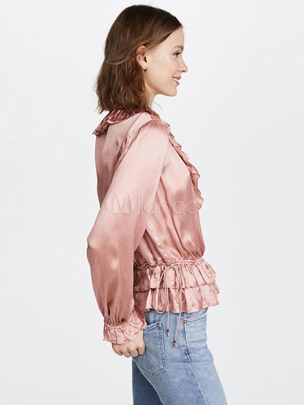 Blusas rosadas para mujer con volantes de manga larga Top casual con ...