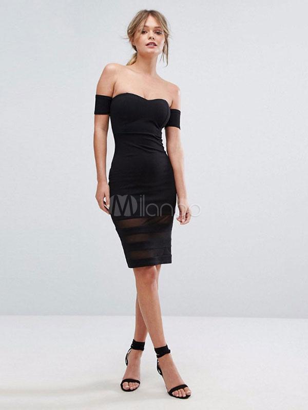 bdf97554b5153 فستان سهرة أسود بظهر مكشوف و كتف كم قصير - Milanoo.com