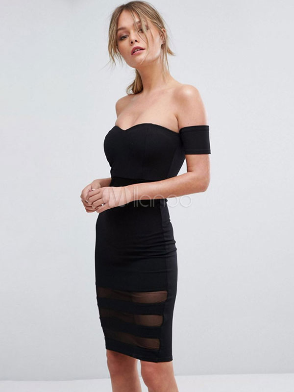 c3ad222ff3c507 ... Black Party Dress Off The Shoulder Short Sleeve Shaping Bardot  Dress-No.2 ...