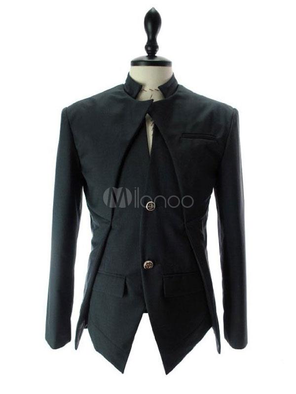 Blazer For Men Stand Collar Irregular Design Tuxedo Suit Button Cotton Suit Jacket