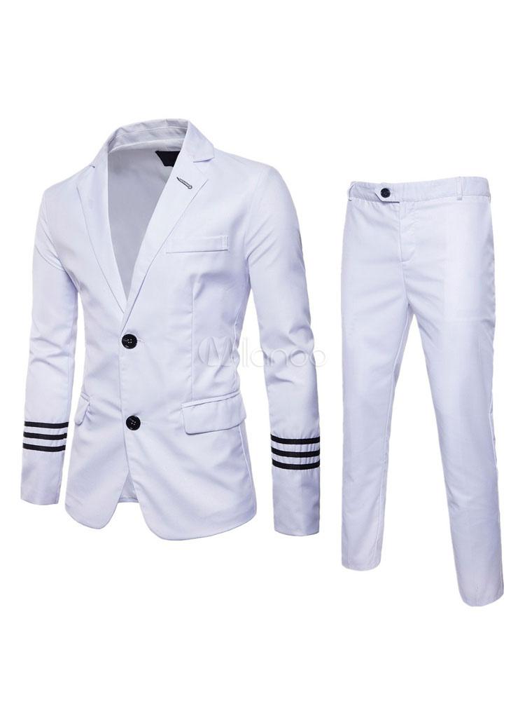 Blazer For Men Stripe Front Button Two Tone Cotton Business Casual Suit Set