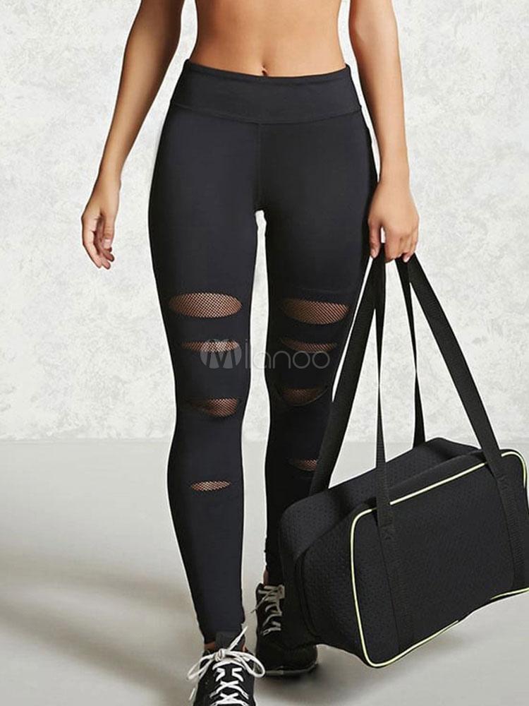 Buy Black Yoga Leggings Elastic Waist Net Skinny Gym Leggings for $16.14 in Milanoo store