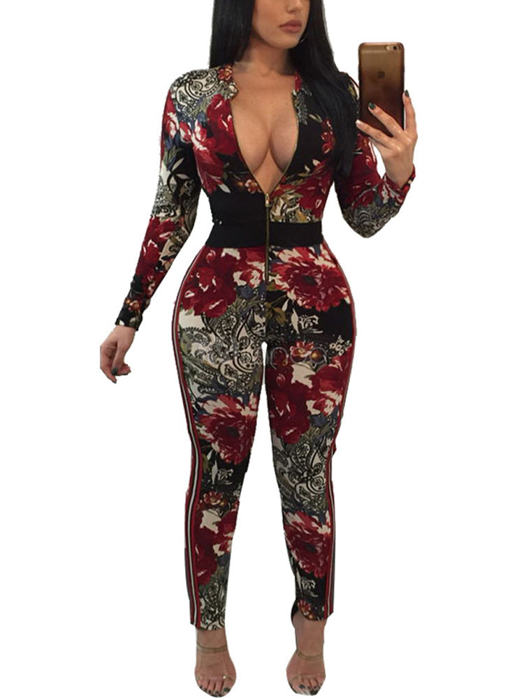 13afa285c93 Floral Sexy Jumpsuit Long Sleeve Zip Up Dark Red Skinny Long Jumpsuit For  Women-No ...
