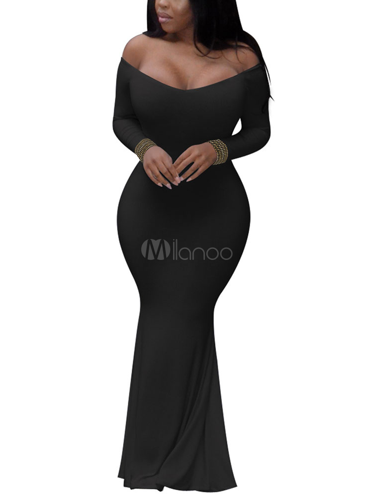 Buy Sexy Club Dress Women Bardot Dress Long Sleeve Off The Shoulder Rhinestones Shaping Mermaid Dress for $26.09 in Milanoo store