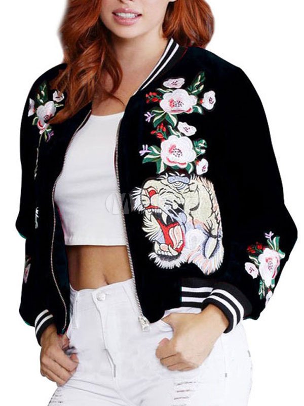 Buy Women Spring Jacket Animal Embroidered Rib Knit Cuff Sleeve Zip Up Varsity Jacket for $30.59 in Milanoo store
