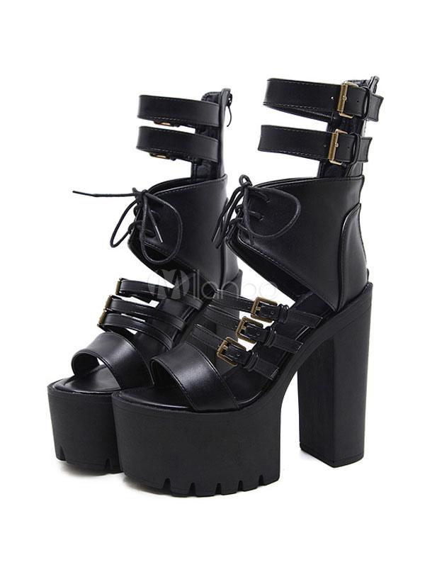 High Heel Sandals Black Platform Open Toe Buckle Detail Chunky Heel Sandal Shoes For Women