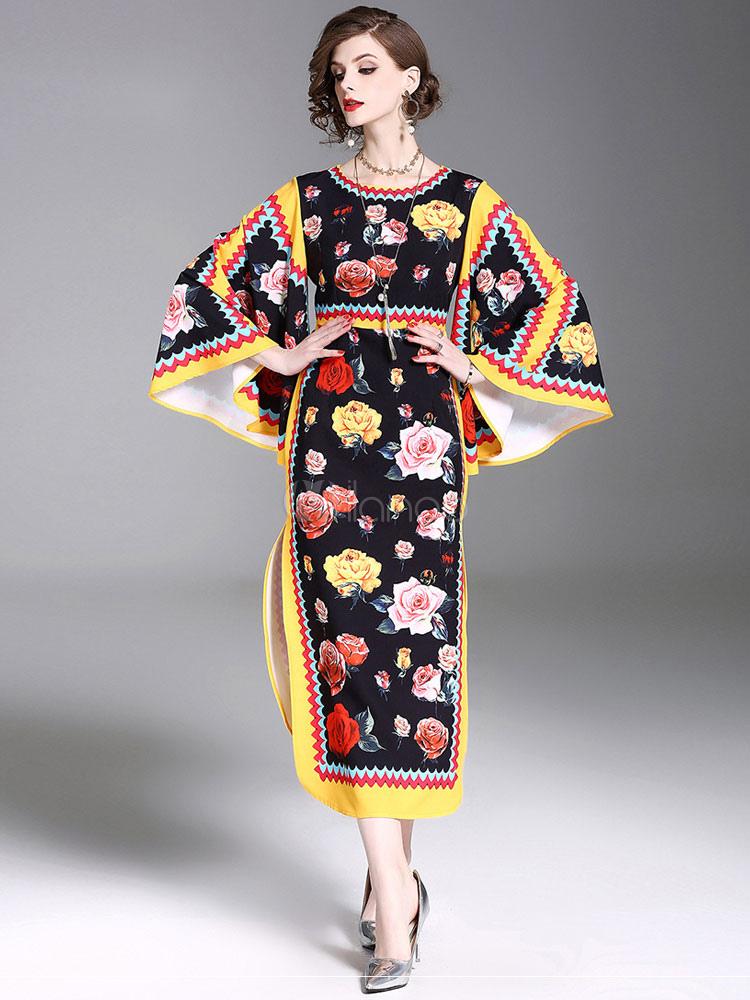 4f7514026fa Floral Kimono Dress Maxi Bell Long Sleeve Split Chiffon Tunic Dress  Women-No.1 ...