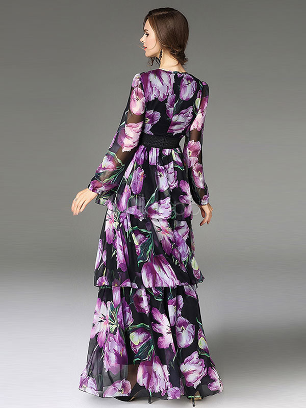 71cbbe658453 Floral Maxi Dress Long Summer Dress Long Sleeve Layered Tiered Purple  Chiffon Dress-No.