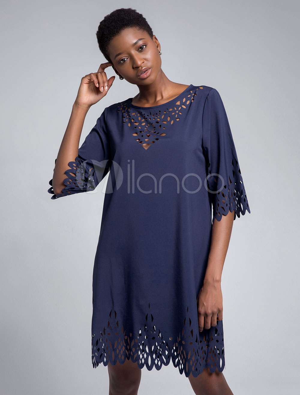Buy Women Shift Dresses Half Sleeve Cut Out Round Neck Summer Dress for $25.49 in Milanoo store