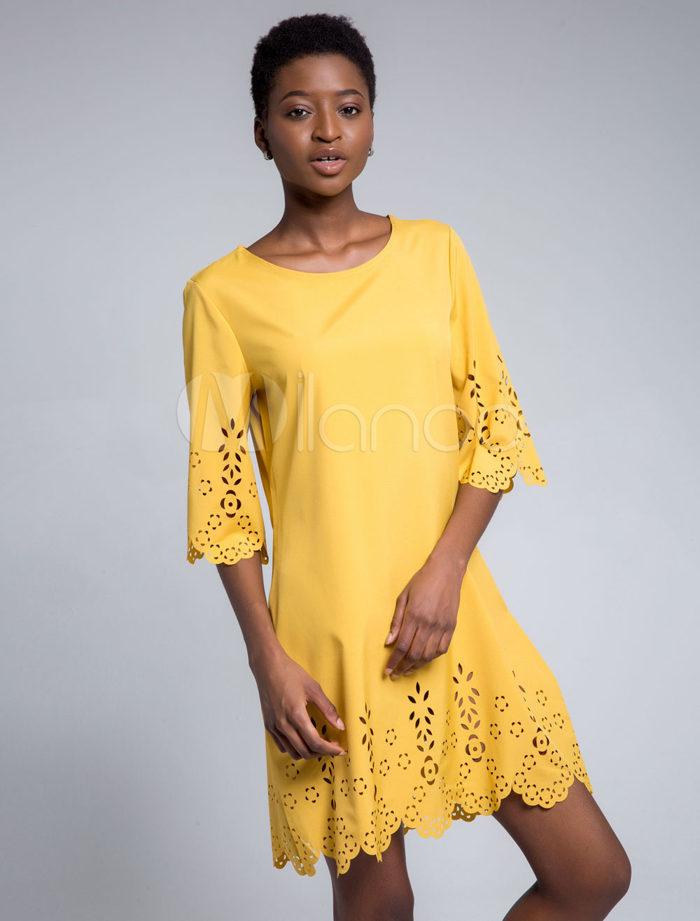 Buy Women Summer Dress Cut Out Half Sleeve Round Neck Shift Dress for $24.64 in Milanoo store