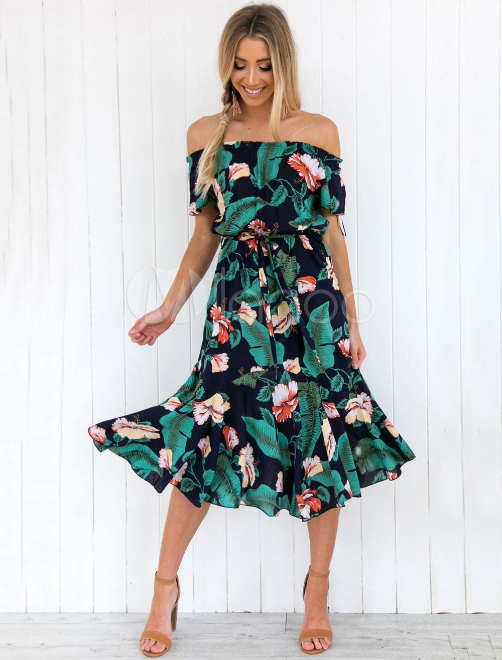 476d8026937e Floral Summer Dress Women Bardot Dress Off The Shoulder Short Sleeve  Printed Chiffon Dress-No ...