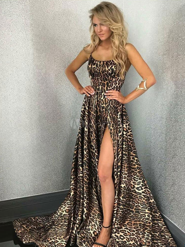 2e3d69bdac ... Sexy Maxi Dress Leopard Print Backless Split Long Prom Dress Lace Up  Evening Dress-No