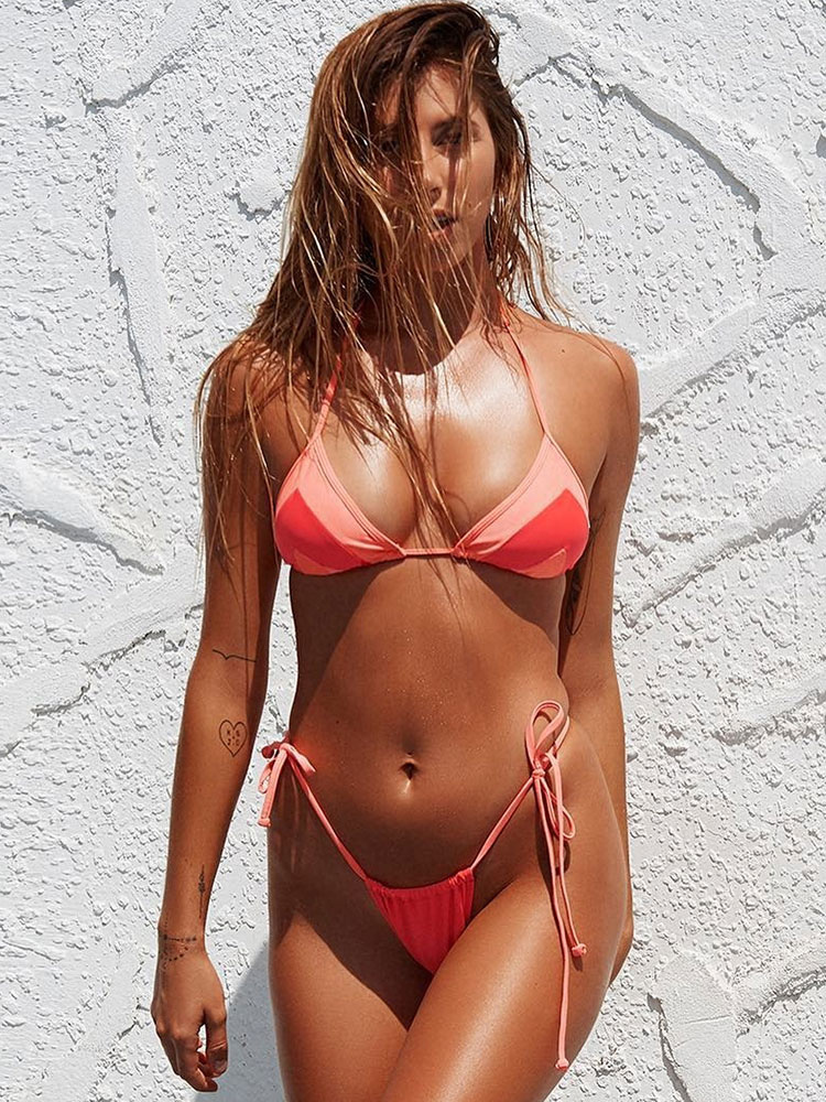 Sexy Bikini Swimsuit Halter Straps Two Tone Low Waisted Two Piece Bathing Suits