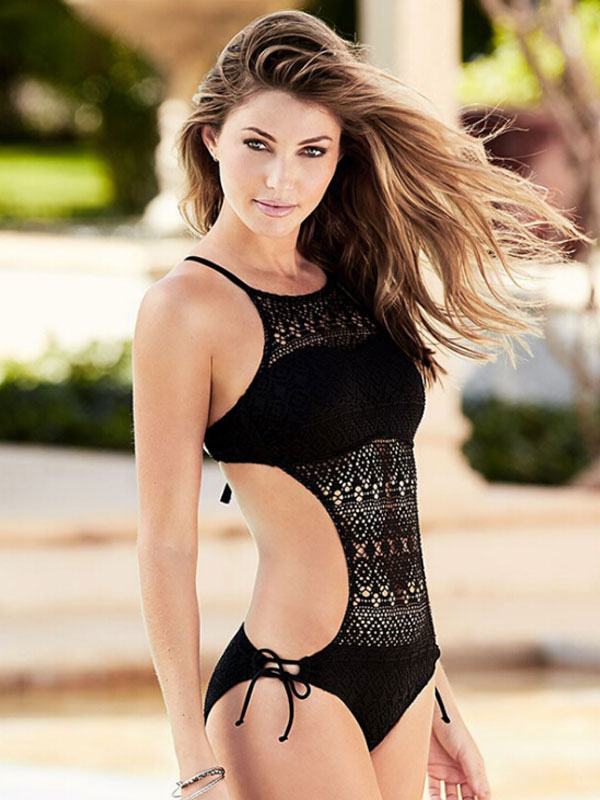 One Piece Bathing Suit Cut Out Backless Spaghetti Straps Black Sexy Swimsuits For Women