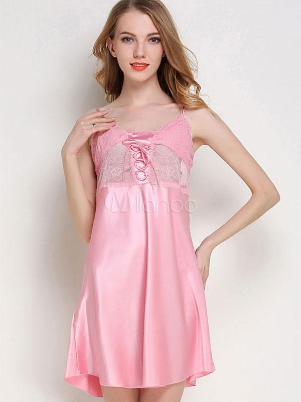 Women Sexy Babydoll Straps Lace Silk Like Nightwear