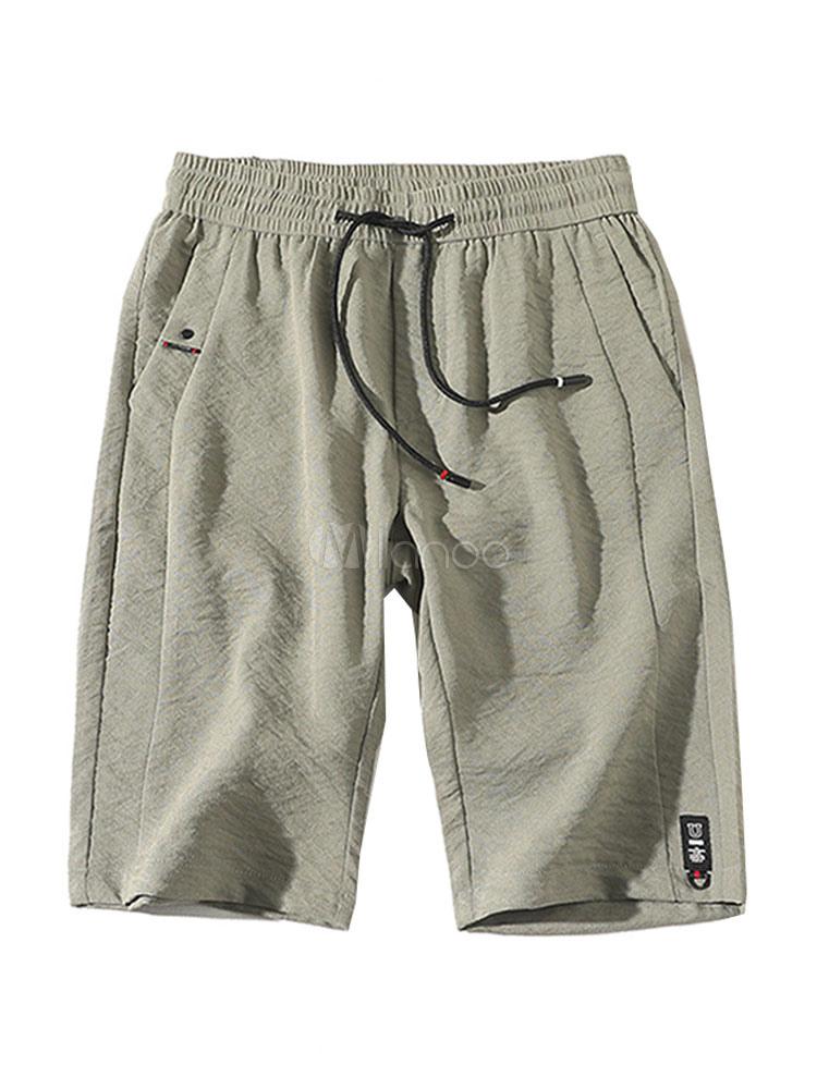 Summer Men Shorts Cotton Linen Drawstring Pocket Academic Shorts