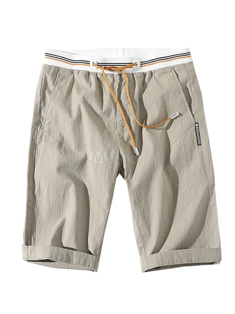 Cotton Linen Shorts Drawstring Elastic Waist Pocket Casual Summer Shorts For Men