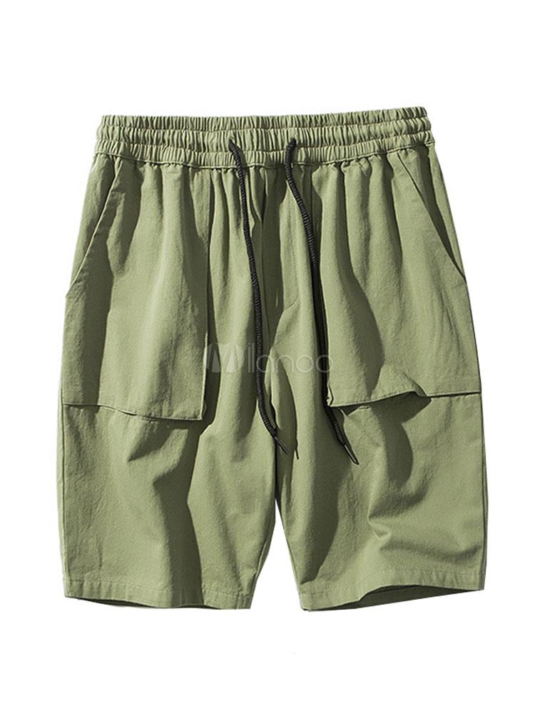Cotton Linen Shorts Drawstring Pocket Cargo Shorts Men Summer Shorts