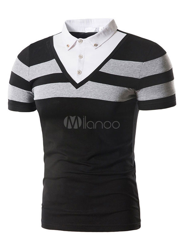 Buy Men Summer T Shirt Color Block Fake Two Piece Casual Polo Shirt for $25.19 in Milanoo store