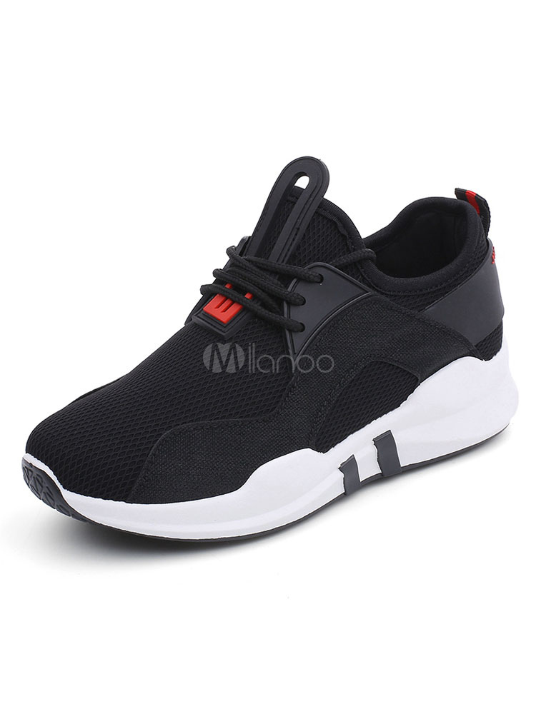 Women Black Sneakers Mesh Round Toe Lace Up Casual Shoes
