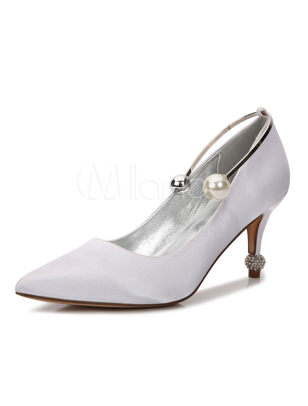 White Wedding Shoes Satin Pointed Toe Pearls Detail Bridal Shoes Wedding Guest Shoes