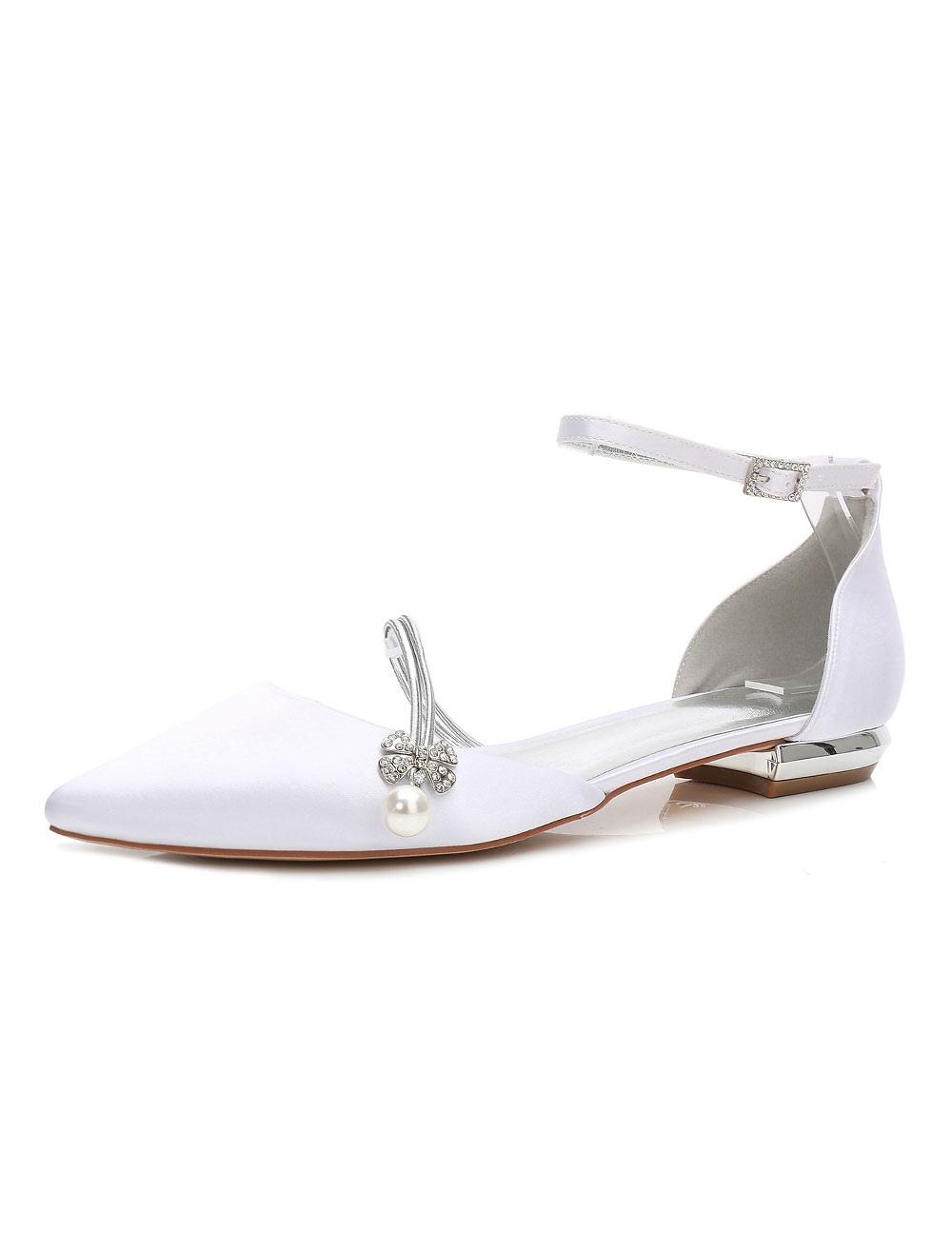 Satin Wedding Shoes White Bridesmaid Shoes Pointed Toe Rhinestones Flat Bridal Shoes