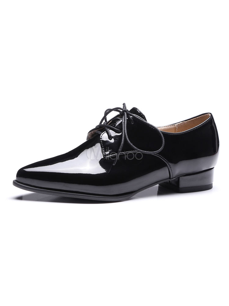 Black Oxford Shoes Women Pointed Toe