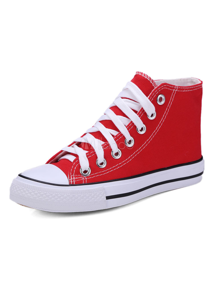 Women Canvas Shoes Red Round Toe Lace