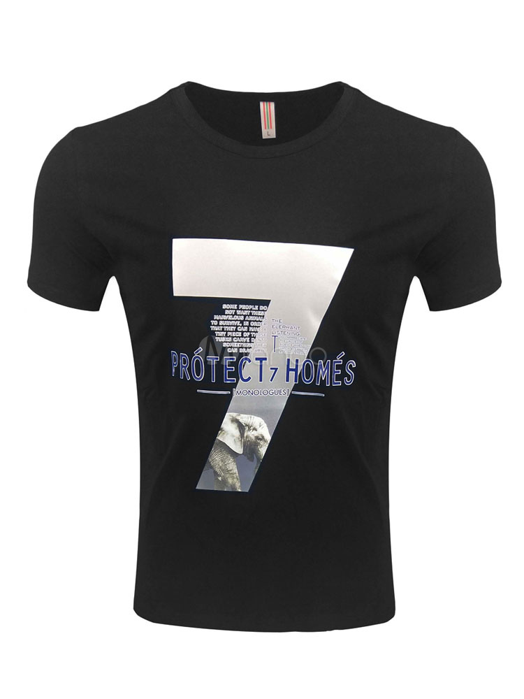 Buy Cotton Men T Shirt Graphic Print Short Sleeve T Shirt for $16.19 in Milanoo store