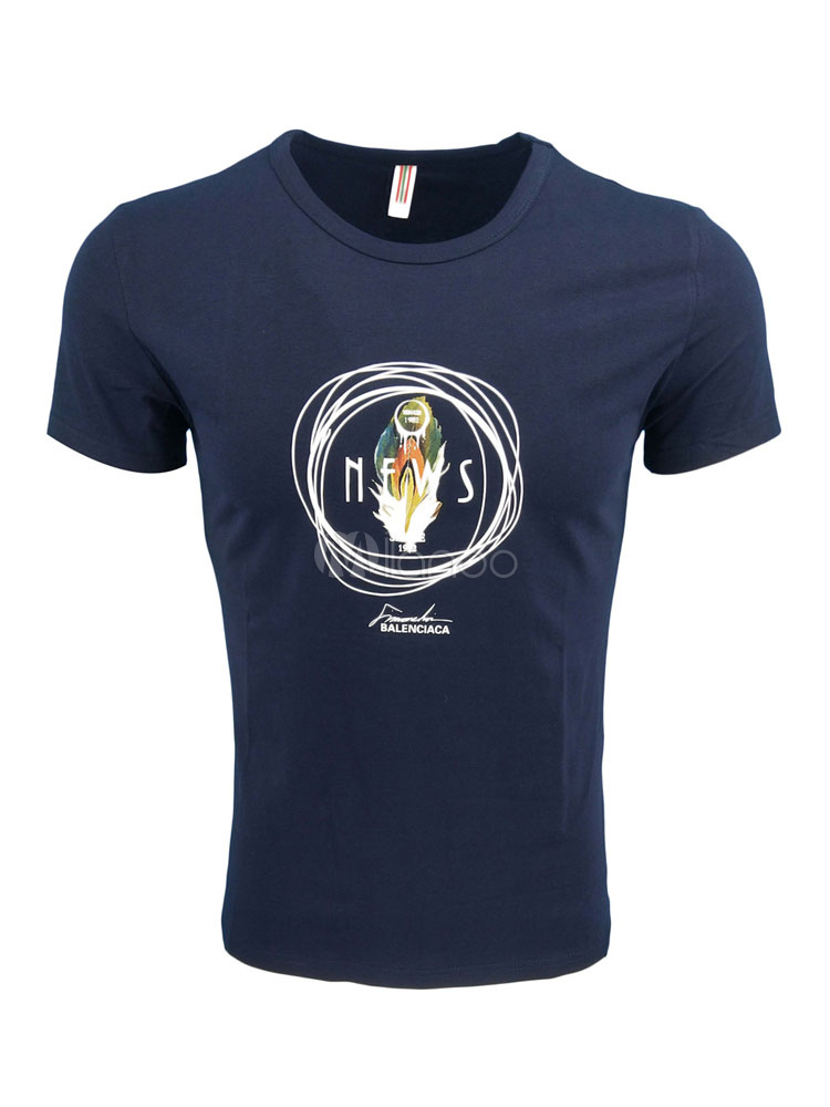 Buy Short Sleeve T Shirt Graphic Print Men Casual T Shirt for $17.99 in Milanoo store