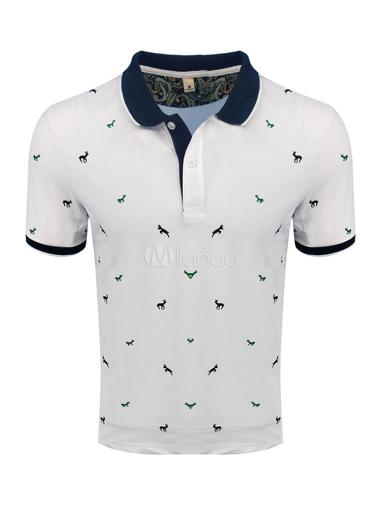 Short Sleeve Polo Shirt Plus Size Print Summer Top Cotton Men T Shirt Casual