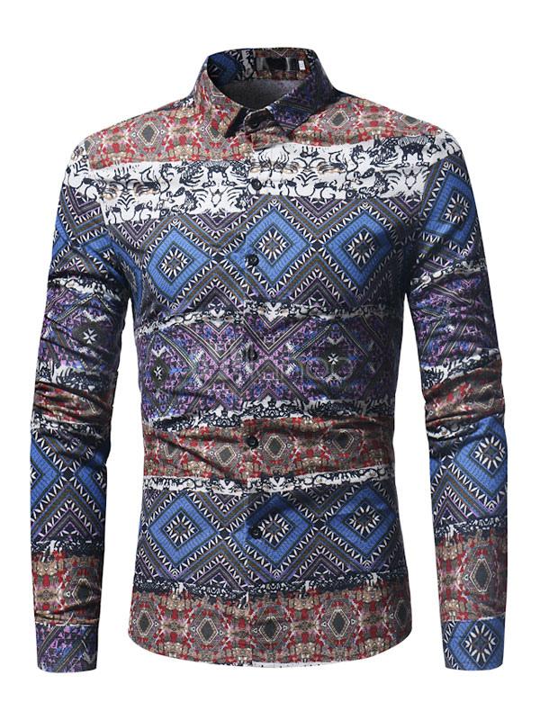 Long Sleeve Shirt Ethnic Print Cotton Top Regular Fit Men Casual Shirt